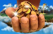 jackpot giant hand met goud